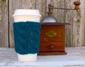 Coffee Cup Sleeve, Coffee Mug Cozy - Cable Knit Coffee Cup Cozy in Peacock Teal Blue