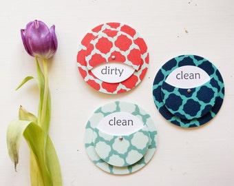 Clean Dirty Dishwasher Sign Magnet - Marrakesh Print Coral Cherry Aqua Seafoam Navy Nautical Quatrefoil Travel Collection Spring Colors