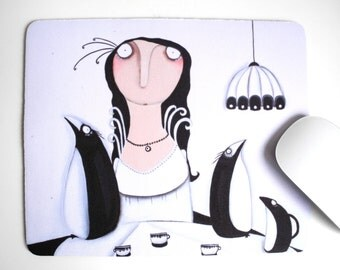 Mousepad Misses Helene Mielenkilch-Bialoskorski with her penguins