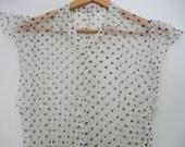Black & White Polka Dot Dress Sheer Nylon Dress Blouse Ligh Layer Beach Cover Up Retro Summer