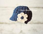 Toddler Girl Hat with Flower, Crochet Newsboy Hat for Girls, Indigo, Off White, Cotton, Children Accessories,  12 Months to 4T