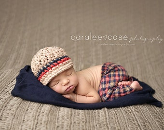 Newborn Newsboy Hat, Newborn Boy Hat, Crochet Baby Hats for Boys, Infant Hat Photo Prop, Jute, Cotton, Newborn Size