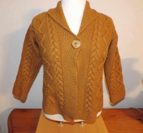 Inis crafts small womens cardigan mustard yellow by for Inis crafts sweater price