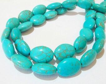 "Turquoise Oval Beads - Blue Turquoise Howlite - Gemstone Drilled Beads - Dark Matrix Vein Stone - 16"" Strand - 18mmx13mm - DIY Jewelry"