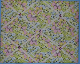 Pink, yellow, blue, and lime green flower french memo board, 16 x 20