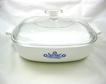 Corning Ware 10 inch P-10-B CASSEROLE w/ Pyrex Lid Blue Cornflower Baking Dish