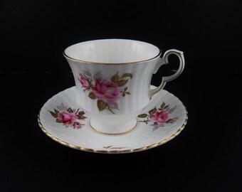Royal Windsor Bone China Tea Cup and Saucer Pink Rosebud England