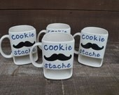 Dad's Cookie Stache - Ceramic Cookies and Milk Dunk Mug - Navy Blue Text - Ready to Ship
