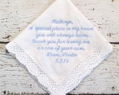 Personalized Embroidered Wedding for Mother of Bride or Mother of Groom Handkerchief Crocheted Lace