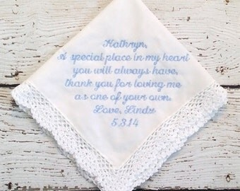 Personalized Embroidered Wedding for Mother of Bride or Mother of Groom Hanky Crocheted Lace