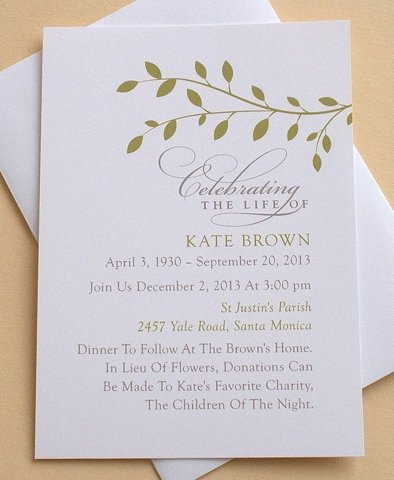 Celebration of life invitation with green leaves for Funeral remembrance cards template