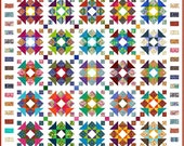 """QUIRKY WORK - 120""""x 120"""" Large King or 103""""x 103"""" - Quilt-Addicts Pre-cut Quilt Kit or Finished Quilt"""