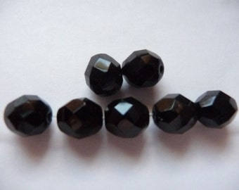 Bead, Preciosa, Czech, Fire Polished, Glass, Jet, 8mm Faceted, Round, Pkg Of 15