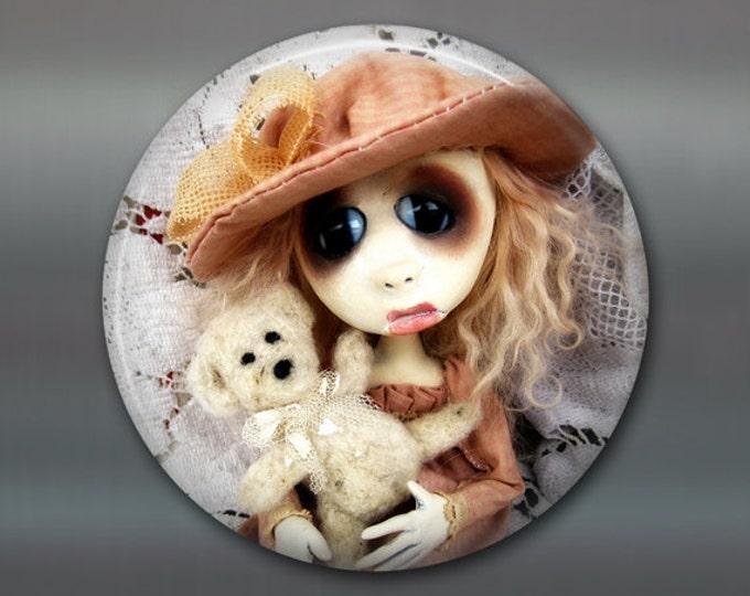 "3.5"" gothic doll fridge magnet, large magnet, kitchen decor, gothic art decor, stocking stuffer gift for her MA-AD59"