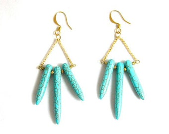 Southwestern style turquoise magnesite earrings