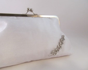 White Silk Clutch-Clutch-Purse-Handbag-Kisslock-8 inch