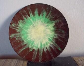 Vintage Enamel Copper Trinket Dish Brown with Yellow Green Sunburst