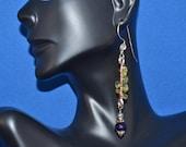 Dangle Earrings, Peridot Earrings, Green Earrings, Purple Earrings, Wire Wrapped Earrings, Copper Earrings, Under 20 Free Shipping in US