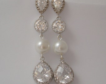 Bridal Earrings Dangle Earrings, Clear White Crystal and Cubic Zirconia Tear drop Earrings, Bridal Earrings, Wedding Earrings