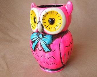 CUTE Owl Vase or Pencil Holder, Bright Hot Neon Pink, Yellow, Turquoise Vintage 60's 70's