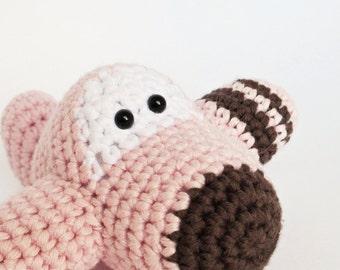Crochet airplane baby rattle amigurumi stuffed toy - organic cotton - baby pink and chocolate brown