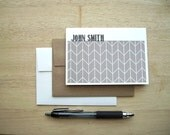 Personalized Note Cards - Geometric Stationery Set, Modern Herringbone Note Cards, Personalized Chevron Thank You Notes, Steel Grey White