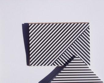 Geometric Note Cards - Modern White Black Stripe Stationery, Geometric Thank You Notes, Classic Note Card Set Black White Stripes Minimalist