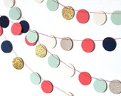 Navy, Mint, Gold or Silver, Coral and Cream Confetti Circles Garland