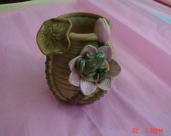 Vintage AAA Imports Pottery Frog Vase- Penang Nursery Inc. - Rare