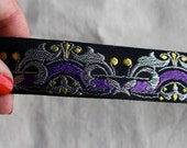 Kings High Court Jacquard woven ribbon in SILVER Purple and Yellow on Black
