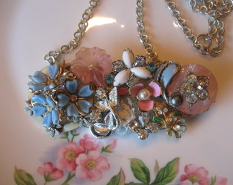 Spring is in the Air necklace.vintage flower jewelry assemblage bib necklace