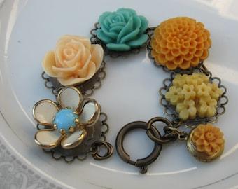 Marigold and Mustard seeds.vintage and flower assemblage bracelet