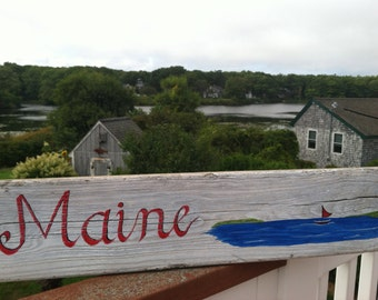 Hand Painted Reclaimed Driftwood Maine Sign, Home And Living, Wall Decor, Coastal  Beach Cottage Home Decor