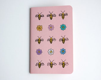 Bees Notebook, Lined Notebook, Pocket Journal, Flowers, Nature Illustration, Hand Drawn, OOAK, Idea Notebook, Gift for Her