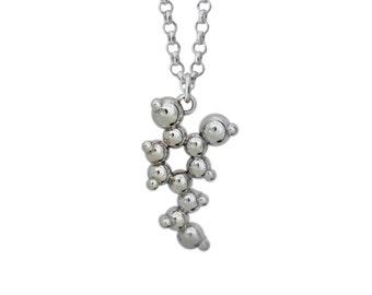 Silver Dopamine Molecule Pendant