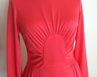 Deep Salmon Circle Gathered Bodice Vintage ALISON AYRES Jersey Gown XS