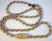 Cappucino Tweed Coral Fossil Bead Spiral Rope Beadwoven Necklace