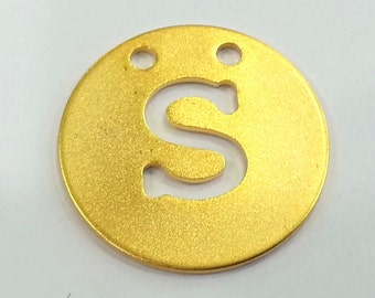 20mm   Letter S  Pendant Gold Plated Brass  G2341