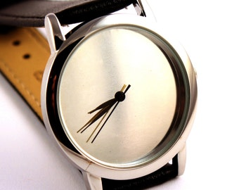 Watch with metal face, silver color face watch, quartz watch, mens watch