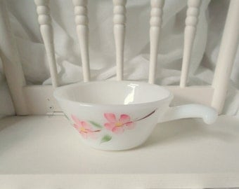 Fire King Bowl  Peach Blossom Anchor Hocking Milk Glass Gay Fad Line Small Casserole Bowl