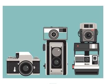 """Vintage Camera Retro Print """"Camera Collection"""""""