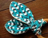 Organic Feathers Wood Teether,  Blue White Black, Turquoise, Southwestern, Eco Baby Gift, Cloud9 Enchanted Fabric, Baby Teething Toy