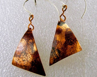 Geometric, Flamed, Forged, Shaped Copper Earrings