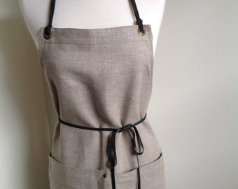 Full Linen Apron Woman  Skinny Leather Ties European Rustic