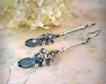 Denim Forever, Smoky London Blue Dangle Earrings, Long Blue Earrings Silver Drop Dangling Earrings Swarovski Teardrop Earrings Beach Wedding