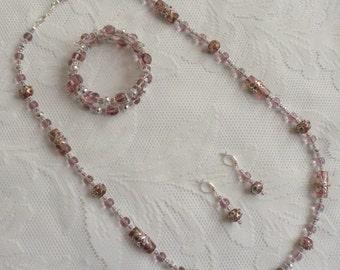 Lavender Italian Tribute Necklace, Earring and Bracelet Set