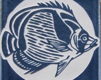 4x4 Tropical Fish Tile Coaster