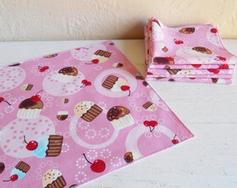 Set Of Six Pink And Pretty Cupcake And Cherry Cloth Napkins