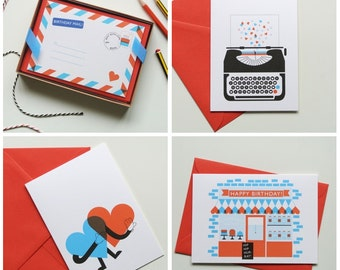 Red, White & Blue / Love and Birthdays - Birthday, Love and Valentines Cards - 4 amazing designs to choose from!
