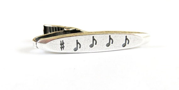 Music Note Tie Bar- Music Tie Clip- Sterling Silver and Brass Finish- Gifts For Men- Gifts For Dad